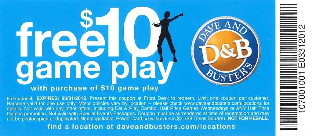 Dave & Buster's Coupons 01